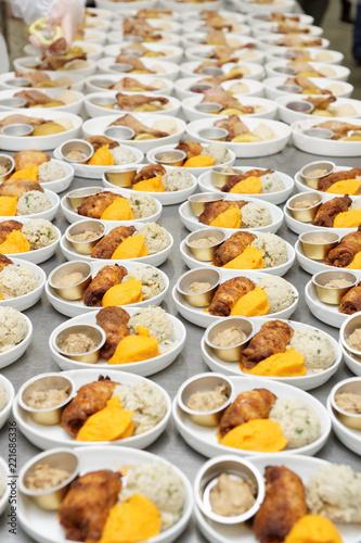 Foto op Aluminium Assortiment Many inflight food portions, commercial kitchen