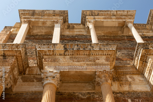Poster Ruine walls and columns of the school in the ancient 2nd century Lydian capital of Sardis