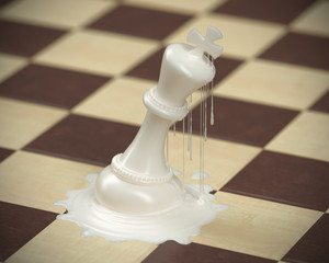 Chess piece Melted Concept for business competition and strategy, Board game 3d rendering.