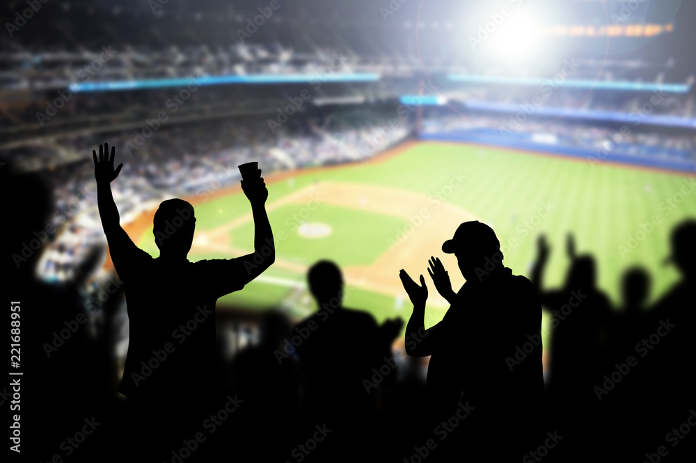 Fototapety, obrazy: Baseball fans and crowd cheering in stadium and watching the game in ballpark. Happy people enjoying a match and sport event in arena. Friends watching ballgame live.