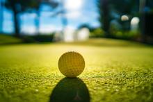 Mini Golf Yellow Ball On Green...