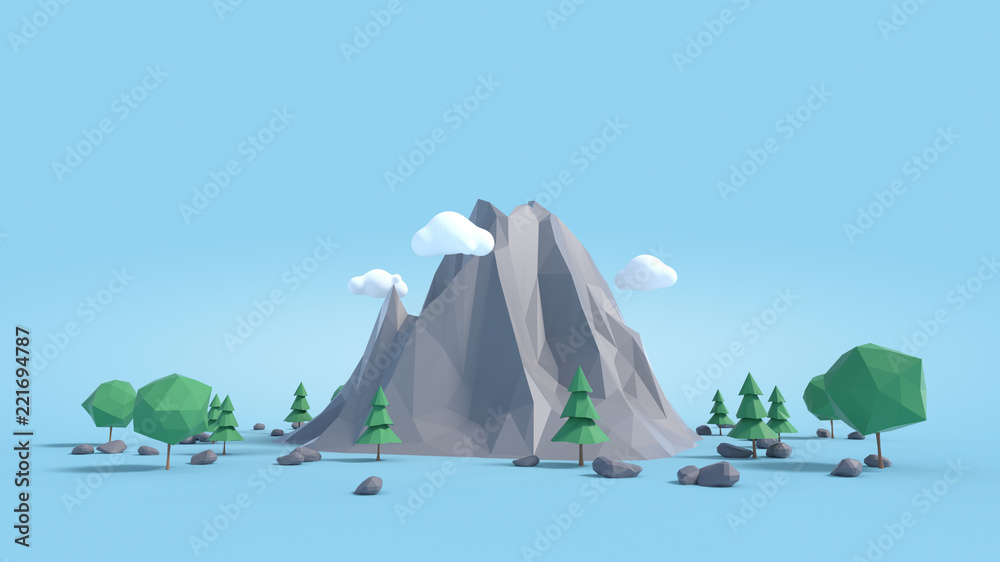 Fototapety, obrazy: Low poly land scene with popup trees and rocks.