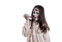 Asian Female Zombie Licking Knife Isolated Over White Background