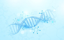 Wireframe DNA Molecules Structure Mesh On Soft Blue Background. Science And Technology Concept