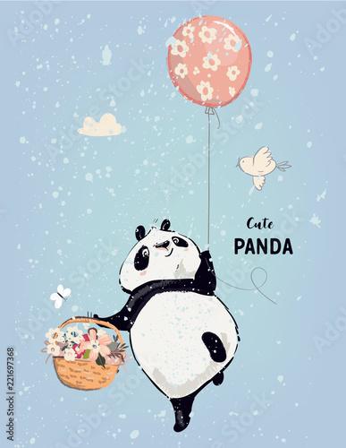 Fototapeta Mała panda z balonem