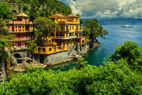 Colorful Luxury Homes Near Portofino Resort, Liguria, Italy, Europe