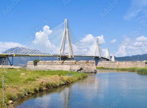 Tuinposter Brug Rio–Antirrio Bridge.