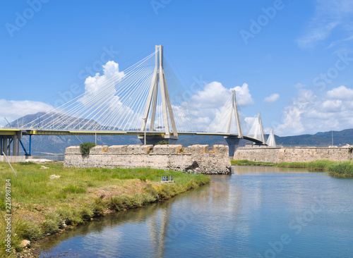 Fotobehang Brug Rio–Antirrio Bridge.