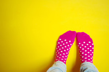 Colorful Cute Pink Sock With W...