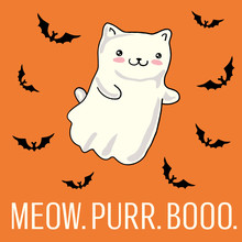 Halloween Card With Cat As Kawaii Ghost. Vector Illustration