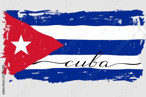 Cuba flag painted grunge handwritten text lettering vector Fototapet