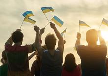 Small Ukrainian Flags. Back Vi...