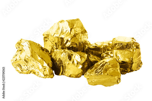 Photo Group of golden bars isolated on white background close up