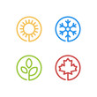 Set of four seasons icons. Summer, winter, spring, autumn