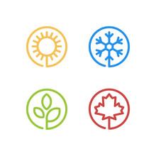 Set Of Four Seasons Icons. Summer, Winter, Spring, Autumn