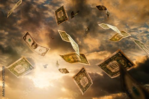 Fotografie, Obraz  Geld fällt vom Himmel