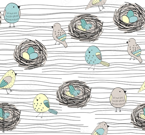 obraz lub plakat Vector seamless pattern with hand drawn birds and nests
