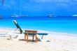 Sunbathing on the sunbed against the sea