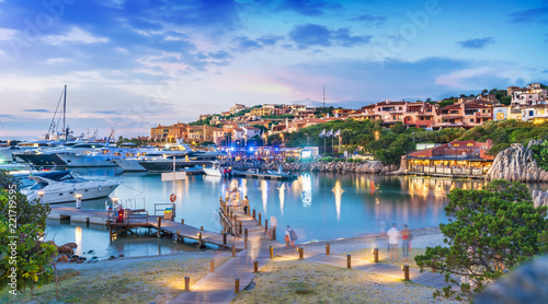 Photo  View of harbor and village Porto Cervo, Sardinia island, Italy