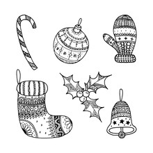 Vector Set Of Christmas Decorative Symbol - Candy Cane, Tree Ball, Mitten, Sock, Holly, Christmas Bell.  Christmas Hand Drawing Coloring Page Book For Adult