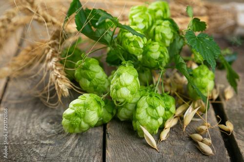 Tuinposter Bier / Cider Beer ingredients - hops, wheat, barley on rustic wood background, copy space