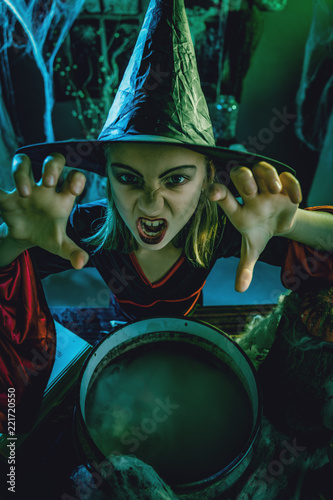 Fotografie, Obraz  Young Witch Sends Evil