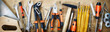 canvas print picture - Panorama banner of assorted hand tools on wood