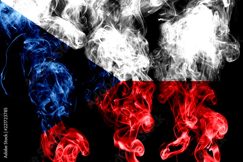 Photo  National flag of Czech Republic made from colored smoke isolated on black backgr