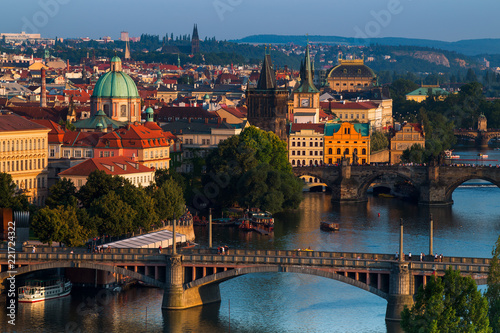 Poster Prague summer sunset aerial view of the Old Town pier architecture and Charles Bridge over Vltava river in Prague, Czech Republic