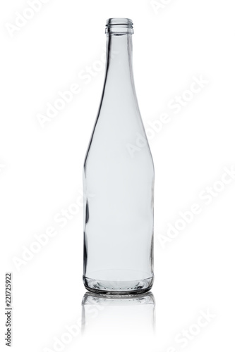 empty bottle from transparent glass with reflection isolated on a white background