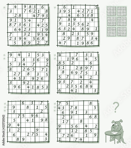 Logic Sudoku game. Set of different level puzzles. Worksheet for children and adults. Vector image.