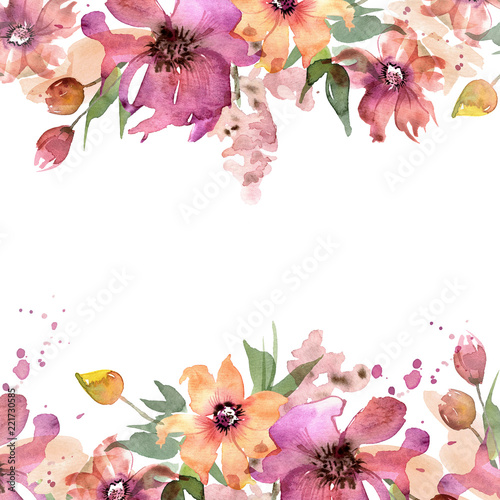 Cute Watercolor Flower Frame Hand Painted Floral Background