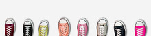 Panorama Banner Of Assorted Colored Sneakers