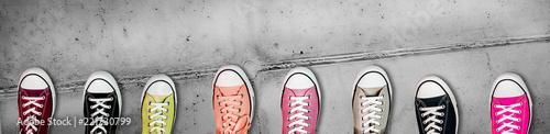 Fotografia  Panorama banner of colorful casual footwear