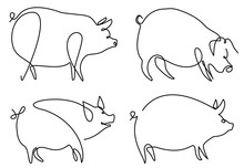 Pig One Line Drawing
