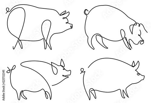 Carta da parati Pig one line drawing