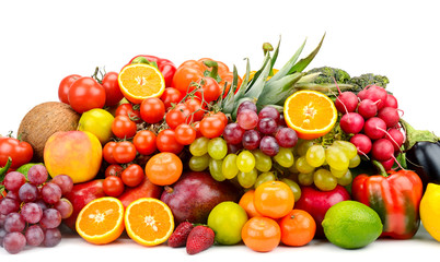 Collection multi-colored vegetables, fruits and berries isolated on white