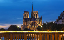 The Notre Dame Cathedral In The Evening , Paris, France.