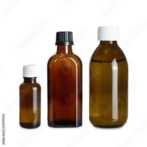 Photo  Various medicine bottle isolated on white background