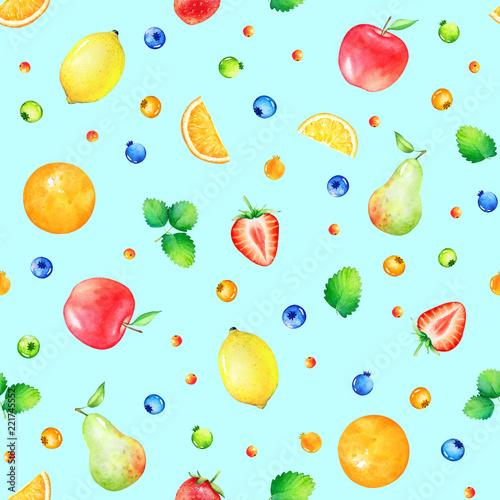 wzor-z-recznie-rysowane-slodkie-owoce-akwarela-i-jagody