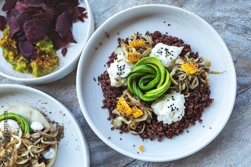 Deurstickers Klaar gerecht Different delicious vegetarian dishes on the table