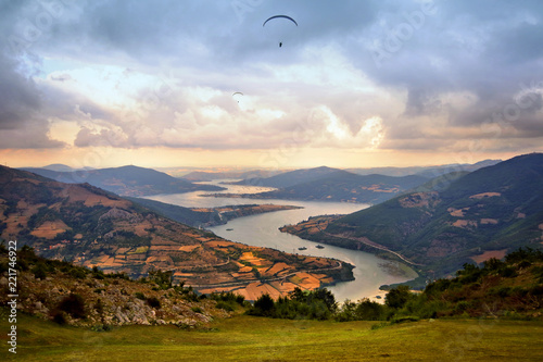 Paragliding at the Kizilirmak River near Samsun, Turkey