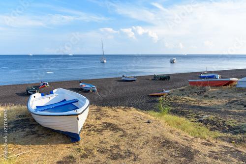 Boat on the black beach on Stromboli Island