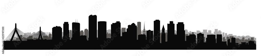 Fototapeta Boston downtown city skyline. USA skyscraper cityscape view