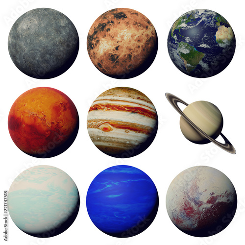Fototapeta the planets of the solar system isolated on white background (3d space rendering, elements of this image are furnished by NASA) obraz