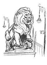 Sculpture Of A Lion With A Sna...
