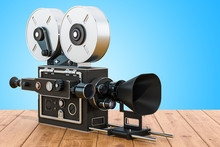 Old Movie Camera On The Wooden Table. 3D Rendering