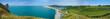 vue panoramique de la plage et des falaises d'Etretat. Normandie, France