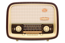 Vintage Radio Receiver Front View, 3D Rendering