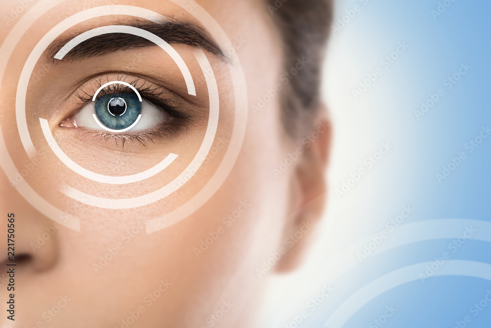 Fototapeta Concepts of laser eye surgery or visual acuity check-up